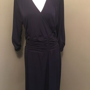 NY Collection Navy slimming 1X dress knee length.